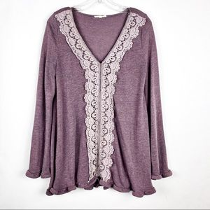 Easel Vneck Sweater Top with bell sleeves